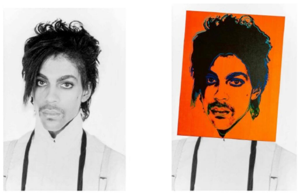 The original Lynn Goldsmith photograph of Prince and Andy Warhol's portrait overlaid on top of the photograph, as reproduced in court documents.